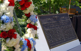 Plaque to Law School students who died in WW II with wreath