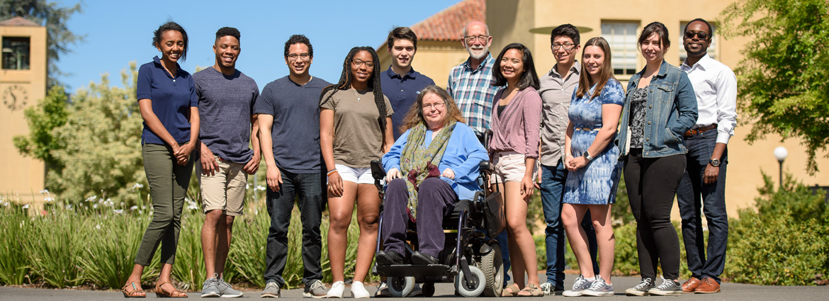 Group portrait of a diverse members of the Stanford community